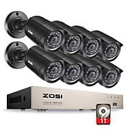 zosi® 8ch 1080n hd-TVI 8x DVR Kit de câmera de vigilância 1280tvl 720p ir câmeras à prova de intempéries disco rígido de 1TB