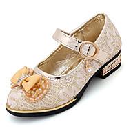 Para Meninas Sandálias Sapatos para Daminhas de Honra Couro Envernizado Primavera Verão Casamento Social Casual Laço Salto BaixoDourado