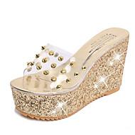 Damen-Sandalen-Kleid Lässig-PU-Keilabsatz-Komfort-Gold Silber