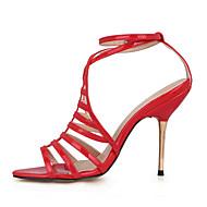Women's Sandals Summer Comfort Light Up Shoes PU Wedding Dress Party & Evening Stiletto Heel Black Red