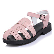 Sandals Spring Summer Fall Comfort Hole Shoes Light Soles Leatherette Outdoor Dress Casual Flat Heel Buckle Stitching Lace Pink White Gray