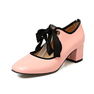 Heels Spring Summer Fall Winter Club Shoes Patent Leather Office & Career Dress Casual Chunky Heel Lace-up Pink Almond