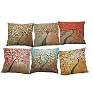 Set of 6 Oil painting three-dimensional tree  pattern  Linen Pillow Case Bedroom Euro Pillow Covers 18x18 inches Cushion cover