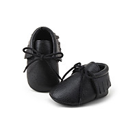 Baby Flats Spring Fall First Walkers Crib Shoes Leatherette Casual Tassel Black White Gray