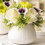 1 ענף חבצלות (קלה לילי) ורדים פרחים לשולחן פרחים מלאכותיים