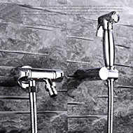 Bidet Faucets  ,  Contemporary Traditional  with  Chrome Single Handle One Hole  ,  Feature  for Wall Mount Pull out