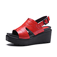 Women's Sandals Spring Summer Fall Club Shoes Other Animal Skin Leather Office & Career Party & Evening Dress Wedge Heel Buckle Black Red