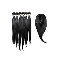 7 Pieces/Lot Straight Hair Human Hair Weaves With Closure Color 1b Natural Black (14inch16inch18inch)