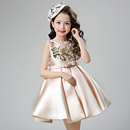 Ball Gown Short / Mini Flower Girl Dress - Cotton Satin Jewel with Bow(s) Sash / Ribbon Sequins