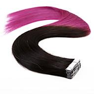 neitsi 20 '' 20τεμ 50γρ Ombre υφάδι δέρμα ευθεία ταινία στις επεκτάσεις ανθρώπινα μαλλιών βαθμού ποιότητας 5α Τ1 Β / μοβ #
