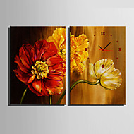E-HOME® Three Flowers Clock in Canvas 2pcs