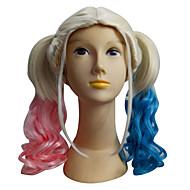 selvmord trup harley quinn paryk joker paryk lang bølget gradient farve kostume cosplay paryk 2 ponytails