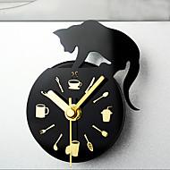 le style de loisirs chat horloge aimants pour réfrigérateur un message affiché retrait montre réfrigérateur aimant mur muet horloges