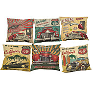 Set of 6  Retro car pattern Linen Pillowcase Sofa Home Decor Cushion Cover (18*18inch)