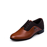 גברים-נעלי אוקספורד-PU-נוחות-שחור חום-יומיומי-עקב שטוח
