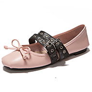 Customizable Women's Dance Shoes Leather Leather Ballet Flats Flat Heel Practice Black Pink White