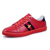 Herren-Sneaker-Outddor Lässig-Leder-Flacher Absatz-Komfort-Schwarz Rot Weiß