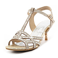 Sandály-Třpytky-Pásek T klub BotyStříbrná Zlatá-Šaty Běžné Party-Vysoký Podpatek zdobený šperky