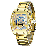 Men's Unisex Skeleton Watch Fashion Watch Wrist watch Japanese Quartz Water Resistant / Water Proof Noctilucent Stainless Steel Band