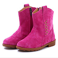 Girl's Boots Spring Fall Winter Comfort Suede Outdoor Athletic Casual Flat Heel Beading Zipper Brown Yellow Fuchsia