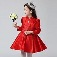 Ball Gown Short / Mini Flower Girl Dress - Organza High Neck with Flower(s) Lace