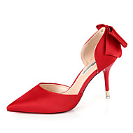 Women's Heels Spring Summer Other Leather Wedding Office & Career Party & Evening Dress Stiletto Heel Bowknot Black Pink Red Gray