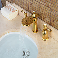 Contemporary Widespread Waterfall with  Brass Valve Three Handles Three Holes for  Ti-PVD , Bathroom Sink Faucet