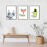 3D Art Print Framed Canvas Framed Set Wall Art Brown Mat Included With Frame Hand-painted Cartoon Animal Plants Abstract L(53cm*73cm) XL(63cm*83cm)