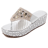 Women's Sandals Spring Summer Fall PU Dress Casual Wedge Heel Rhinestone Gold Sliver