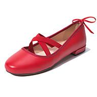Flache Schuhe-Outddor Kleid Lässig-Leder-Flacher Absatz Niedriger Absatz Blockabsatz-Ballerina-Schwarz Rosa Rot
