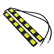 1 par carro styling chip de cob impermeável levou drl DC12V nevoeiro lâmpada principal de condução branca luzes diurnas