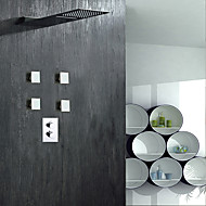 Contemporary Shower System Rain Shower Widespread with  Brass Valve Two Handles Four Holes for  Chrome , Shower Faucet