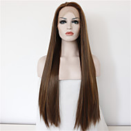 Good Quality Cheap Brown Wig Heat Resitant Synthetic Lace Front Wigs for Women Natural Long Brown Lace Wigs with Highlights Free Shipping