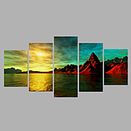 Hand-Painted Modern Sea Oil Painting Five Panel Canvas Oil Painting Multi Split Oil Painting