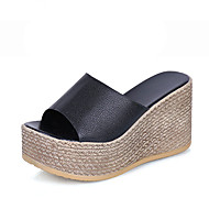 Women's Sandals Comfort PU Summer Casual Walking Comfort Hollow-out Wedge Heel White Black 2in-2 3/4in