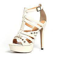 Feminino-Saltos-Gladiador Sapatos clube-Salto Agulha-Branco Amarelo-Materiais Customizados Courino-Casamento Social Festas & Noite