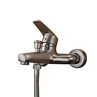 現代風 バスタブとシャワー ワイドspary with  セラミックバルブ シングルハンドル二つの穴 for  ステンレス , 浴槽用水栓