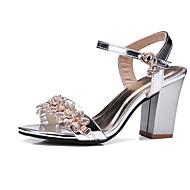Damen-Sandalen-Hochzeit Büro Kleid-PU-Blockabsatz-Club-Schuhe-Gold Schwarz Silber Rosa