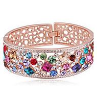 Mulheres Bracelete Jóias Amizade Moda Cristal Liga Forma Geométrica Amarelo Arco-íris Rosa claro Jóias Para Aniversário 1peça