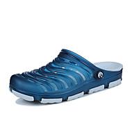 Homme-Extérieure Décontracté-Noir Bleu de minuit Bleu-Talon Plat-Confort Semelles Légères trou Chaussures-Sandales-Matières Personnalisées