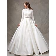 LAN TING BRIDE Ball Gown Wedding Dress Simply Sublime Sweep / Brush Train High Neck Satin with Beading Bow Sash / Ribbon