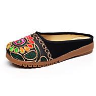 Sandaalit-Tasapohja-Naiset-Kangas-Musta Punainen-Rento-Comfort Slingback
