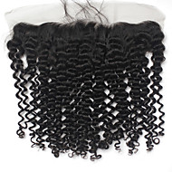 13*4 Afro Curly Frontal Brazilian Virgin Human Hair Lace Closure 130% 10-20 Inch 1B Black Hair