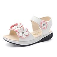 Para Meninas-Sandálias-Menina Flor Shoes-Rasteiro-Branco Rosa claro-Couro Ecológico-Casamento Social Casual Festas & Noite