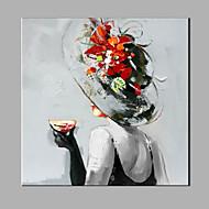 Handgeschilderde Abstract Mensen Vierkant,Modern Eén paneel Canvas Hang-geschilderd olieverfschilderij For Huisdecoratie