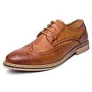 メンズオックスフォード春の秋正式な靴の快適牛の靴の革の結婚式屋外事務所&キャリアパーティー&夜のカジュアルレースアップ花