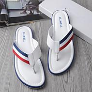 Herren-Slippers & Flip-Flops-Lässig-Leder-Flacher Absatz-Komfort-Weiß Schwarz