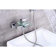 Zeitgenössisch Mittellage Wasserfall with  Keramisches Ventil Einzigen Handgriff Zwei Löcher for  Chrom , Badewannenarmaturen