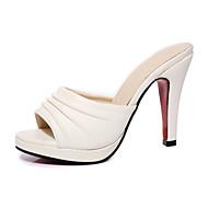 Mujer-Tacón Stiletto-Tira en T-Sandalias-Exterior Vestido Informal-Semicuero-Blanco Negro