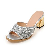 Damen-Slippers & Flip-Flops-Kleid Lässig-Kunststoff-Blockabsatz-Fersenriemen-Weiß Silber